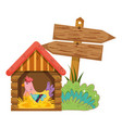 garden with wooden arrow signal and rooster vector image