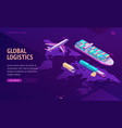 global transport logistics delivery company vector image