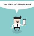 happy businessman with smart phone the power of vector image