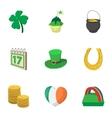 Holiday Saint Patrick day icons set cartoon style vector image