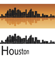 Houston skyline in orange background vector image vector image