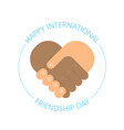 international handshake - friendship logo - happy vector image vector image