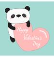 Kawaii panda baby bear Happy Valentines Day Cute vector image vector image