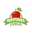 Natural apple juice logo label vector image