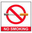 no smoking poster red design vector image vector image