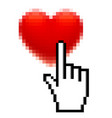 pixel red heart and hand with forefinger isolated vector image
