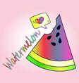 rainbow sketch - a piece of juicy watermelon vector image