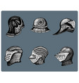 set of medieval symbols battle helmets for knights vector image