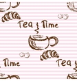 Tea time vintage seamless background vector image