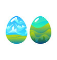 two easter eggs with drawing nature on white vector image