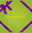 violet realistic bow with ribbons vector image vector image