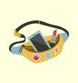 waist bag cartoon lady accessory modern purse vector image vector image