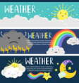 weather banners with cute cartoon sun moon vector image
