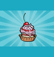 cupcake dessert with cherries and cream vector image