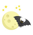 bat with moon flat icon halloween and scary vector image