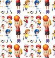 Seamless children playing sports vector image