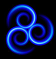 three an abstract blue swirls on black vector image