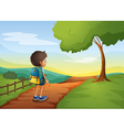 A boy walking while carrying a bag vector image vector image
