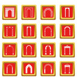 arch set icons set red vector image vector image