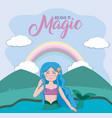 beautiful and magic mermaid cartoon vector image
