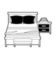 bedroom with books over nightstand black color vector image vector image