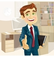 Business man in office with speech bubble gives vector image vector image