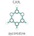 C4H4N2 pyrimidine molecule vector image vector image