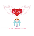 cartoon angel boy in love vector image vector image
