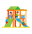 children on playground - colorful flat design vector image vector image
