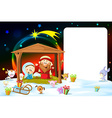 christmas frame - nativity with lights and cute vector image
