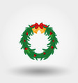 christmas wreath with holly berries bells and a vector image