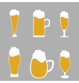 Different types of beer glasses with beer spilling vector image vector image