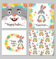 easter bunny happy greeting cards vector image