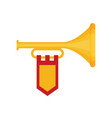 flat trumpet with flag icon vector image vector image