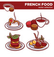 french food collection of exquisite tasty vector image