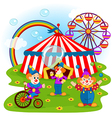 funny clowns and circus vector image vector image