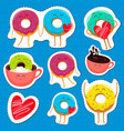 funny donut characters stickers in leisure vector image vector image
