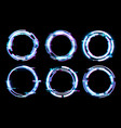 glitch digital frames circles neon light effect vector image vector image