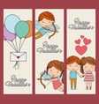 happy valentines vertical banners cute people love vector image