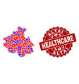 healthcare collage of mosaic map of altai republic vector image