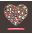 Heart composition of modern flat design coffee vector image vector image