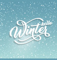 hello winter handlettering inscription white text vector image vector image