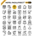 hotel facillities concept icons set vector image