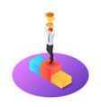 isometric businessman raise up winner trophy on vector image