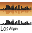 Los Angeles skyline in orange background vector image