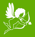 love cupid icon green vector image vector image