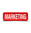 marketing red 3d square button isolated on white vector image vector image