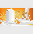 milk package realistic with splash product vector image vector image