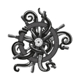 Octopus holding a helm Tattoo style