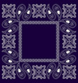 paisley bandana- blue and white pattern vector image